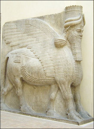 Assyrian composite man/horse/bird with beard