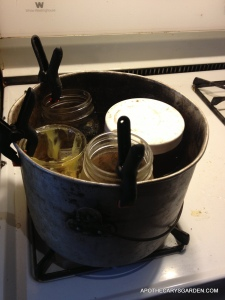 A water-bath, Bain Marie, or double boiler at work regulating the temperature of all the ingredients