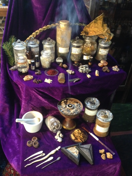 A selection of various natural fragrant materials for incense making, and a few traditional incense products.